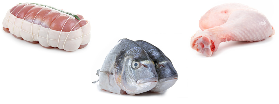 Prodway International, Nour Najem, food trading, import-export, photos de viandes, volaillles, poissons frais et congelés, fresh and frozen food, rôti de veau, cuisse de poulet, dorade  © margouillat photo